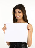 Girl with the white placard Royalty Free Stock Image