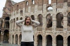 Girl in white pullover in Rome stock image
