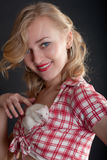Girl with a white rat Stock Images