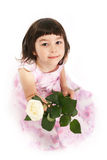 Girl with white rose Stock Image