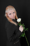 Girl with a white rose Royalty Free Stock Photography