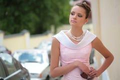 Girl in white-rose dress Royalty Free Stock Photos