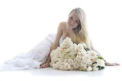The girl with white roses Stock Photos
