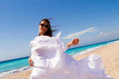 Girl With White sarong on The Beach. Royalty Free Stock Photos