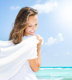 Girl With White Scarf. Beautiful Girl With White Scarf Having Fun on The Beach. Travel and Vacation. Freedom Concept Stock Photography