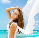 Girl With White Scarf Stock Image
