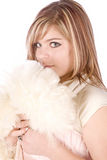 Girl with white scarf and pink formal Stock Photography