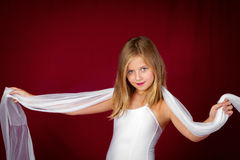 Girl With White Scarf On Red Stock Photography