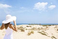 Girl in white by the sea Royalty Free Stock Photos