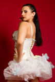 Girl in a white sexy dress Royalty Free Stock Image