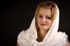 Girl in a white shawl Stock Photo
