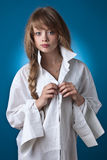 Girl in a white shirt royalty free stock images
