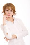 The girl in a white shirt. Beautiful girl in a white shirt royalty free stock images
