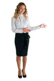 Girl in a white shirt and black skirt Stock Images