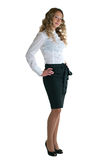 Girl in a white shirt and black skirt Stock Image