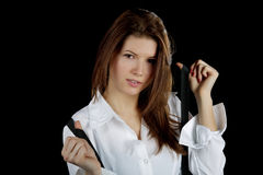 The girl in a white shirt and  braces. The girl in a white shirt and black braces Stock Photos