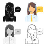 Girl in a white shirt with headphones.Call centre manager takes a taxi booking. Taxi station single icon in cartoon. Style vector symbol stock web illustration Royalty Free Stock Images