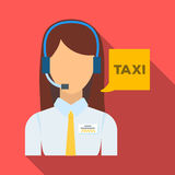 Girl in a white shirt with headphones.Call centre manager takes a taxi booking. Taxi station single icon in flat style. Vector symbol stock web illustration Royalty Free Stock Image