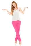 Girl in a white shirt and pink pants Stock Photo