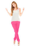 Girl in a white shirt and pink pants Royalty Free Stock Photos