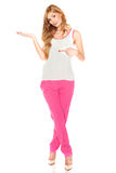 Girl in a white shirt and pink pants Stock Photos