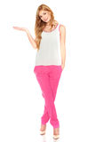 Girl in a white shirt and pink pants Royalty Free Stock Images