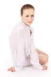 A girl in a white shirt posing Stock Photos