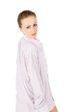 A girl in a white shirt posing Royalty Free Stock Image