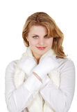 Girl in a white shirt with  scarf and mittens the Stock Image