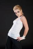 Girl in white singlet Royalty Free Stock Photo