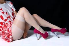 Girl with white stockings Royalty Free Stock Photo