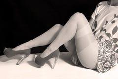 Girl with white stockings Stock Photo