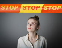 Girl in white and STOP line. Stock Images