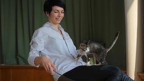 Girl with a cat playing in the chair. Girl in a white striped shirt and black pants plays with a cat while sitting in a transparent chair stock video footage
