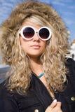 Girl in white sun glasses Royalty Free Stock Image