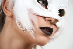 Girl with white swan venetian mask Royalty Free Stock Photography