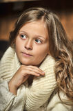 Girl in a white sweater stock photography