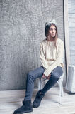 Girl in white sweater wool Royalty Free Stock Photos