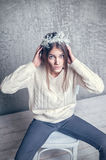 Girl in white sweater wool Royalty Free Stock Images