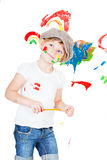 Girl in a white T-shirt and a cap Stock Photos
