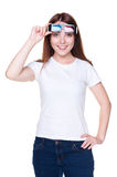 Girl in white t-shirt holding 3d glasses. Smiley girl in white t-shirt holding 3d glasses. isolated on white background Royalty Free Stock Image