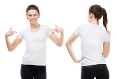 Girl in a white T-shirt. Isolated on white background, front and back Stock Photos