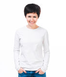 Girl in white t-shirt with long sleeve Royalty Free Stock Image