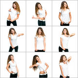 Girl in white t-shirt stock photography