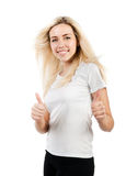 Girl in a white T-shirt shows two thumbs Stock Photography