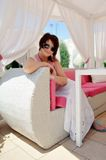 Girl and white tent Stock Photo