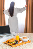 Girl in white terry cloth robe Royalty Free Stock Photos
