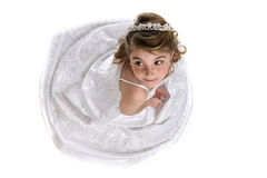 Girl in white tiara and formal gown Royalty Free Stock Photos