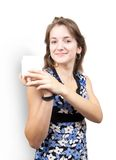 Girl with white  toilletries container. Girl with white cosmetic container, isolated with clipping path royalty free stock image