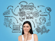 Girl in white top and business icons on blue wall Stock Image